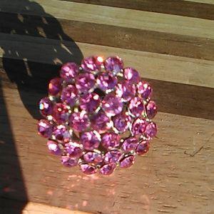 Pink rhinestone ring